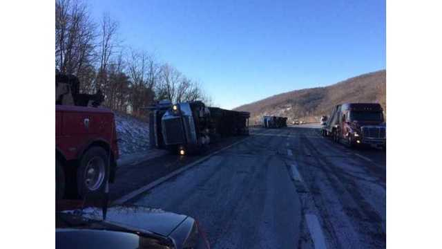 Wind blows over tractor trailers on Virginia interstate