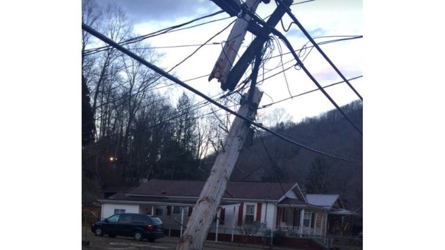Car accident knocks down phone lines and power poles in Wyoming County