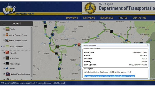 Tractor Trailer accident on I-64 near Sandstone