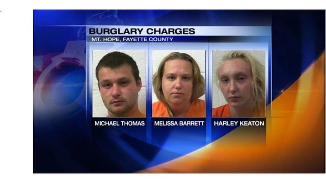 Three people charged in Fayette County burglary
