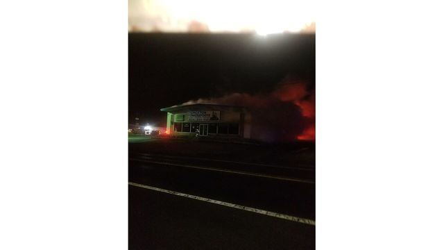Crews respond to business fire in Princeton, road closed