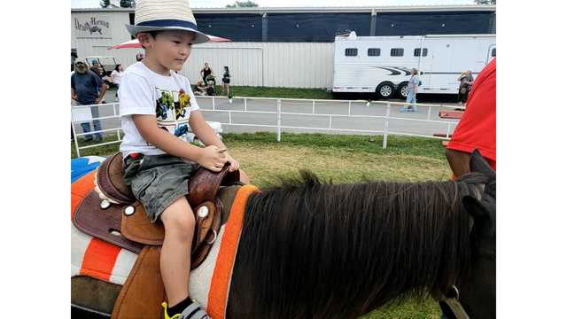 Auston Fortner, 3, from Beckley. Riding a pony for the first time from Ka Fortner_1534282132843.jpg.jpg